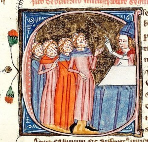 Omne Bonum, by Le Palmer, James, 1360-75. showing clerics with leprosy receiving instruction from a bishop. Source: British Library