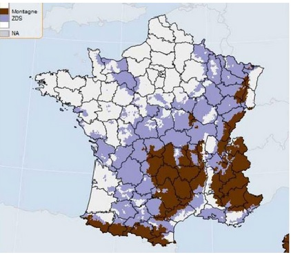 New proposed map of zones no longer exploitalbe for farmers. Brown area refers to mountaineous zones, shaded areas show other inexploitable zones. Picture captured from the site of the French Ministry for Agriculture