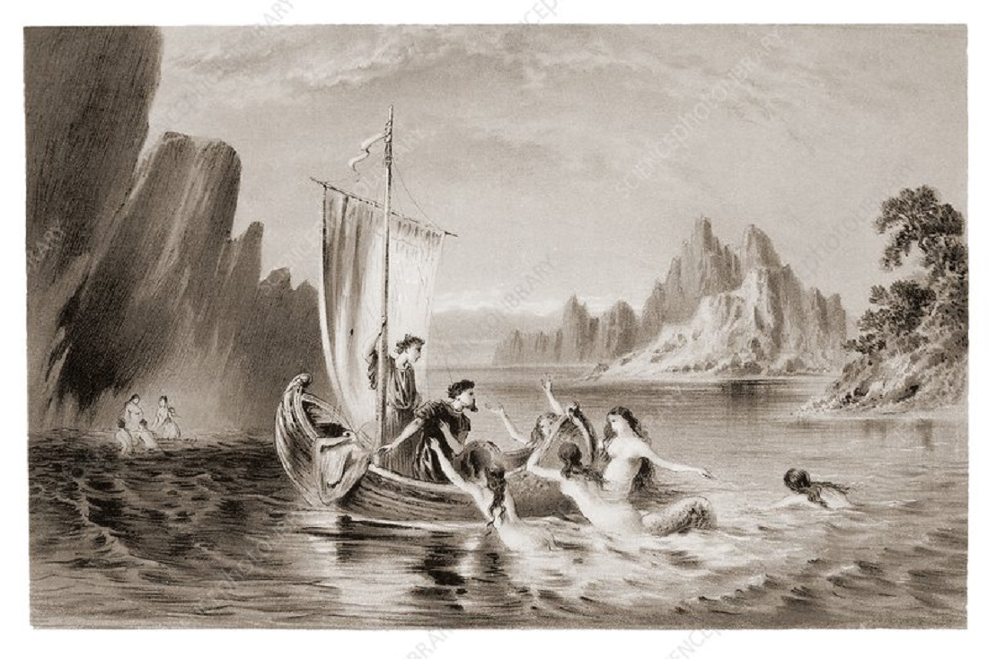 Mythical sirens seducing sailors. In Homer's Odyssey.  Credit. David Parker/Science Photo Library